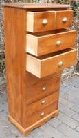 SOLD - Tall Narrow Beech Wood Chest of Drawers